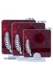 Trophée carre cristal avec plume effet bois rouge D20171107-35