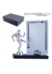 trophée cristal avec statue de foot D20171107-37