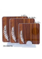 Trophée cristal carre effet bois avec plume D20171107-33