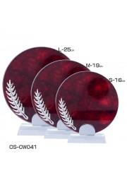 Trophée rond cristal avec plume effet bois rouge D20171107-34