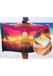 serviette de plage blanche en microfibre avec housse en pvc 140x70cm