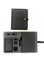 Bloc note A5 avec powerbank integre sans fil sur pochette 5000mah + cable
