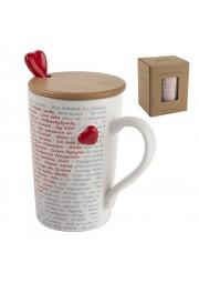 Mug en porcelaine avec couvercle en bois et cuillère cœur