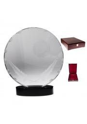 Trophee rond en cristal avec boite en bois
