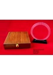 Trophée rond en cristal avec boite en bois